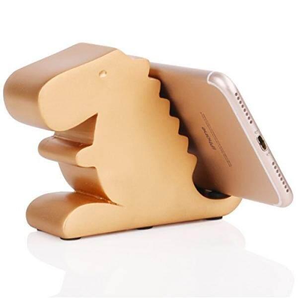 Plinrise Resin Seni Ketrampilan Lucu Tyrannosaurus Dinosaurus Desktop Ponsel Penyangga Mounts, dekoratif Permen Warna Animal Dino Kreatif Pintar Telepon Penahan untuk Iphone Ipad Samsung Tablet Kindle-Emas-Internasional