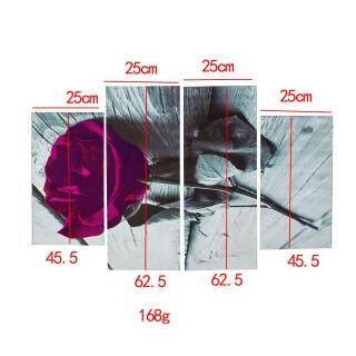 Tranh Nghệ Thuật Treo Tường Màu Trắng Đen Vải Bố Hoa Hồng Tím Mận Quà Tặng Hoa Rộng XL thumbnail