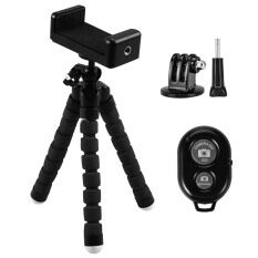 Portable Cellphone Tripod Stand Digital Camera Bracket with Wireless Bluetooth Self-portrait Device Accessories for iPhone 7 7 Plus 6 6S Samsung Galaxy S7 S7 Edge Android IOS Smartphones Black