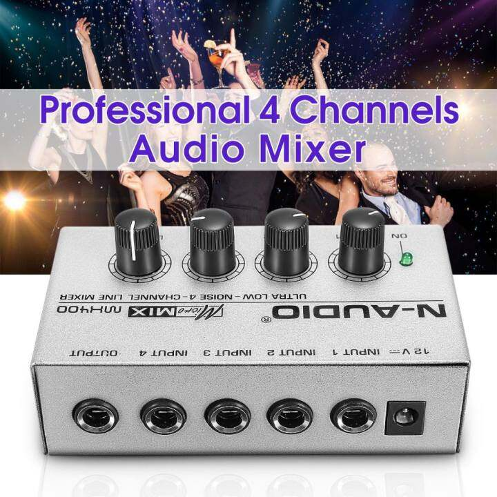 Portable MX400 Micromix Low Voice 4 Channels Mono Line Studio Audio Mixer US 12V