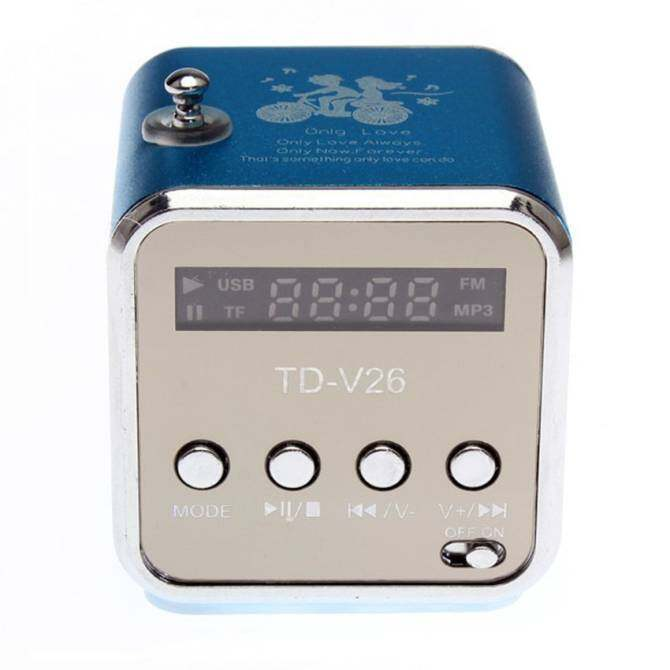 Portable Rechargeable MP3 Music Player SD TF USB PCFMMiniSpeaker(Blue)