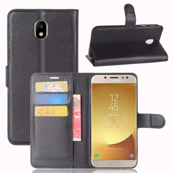 Premium Leather Flip Cover Wallet Phone Case for Samsung Galaxy J7 J730 2017 / Galaxy J7 Pro