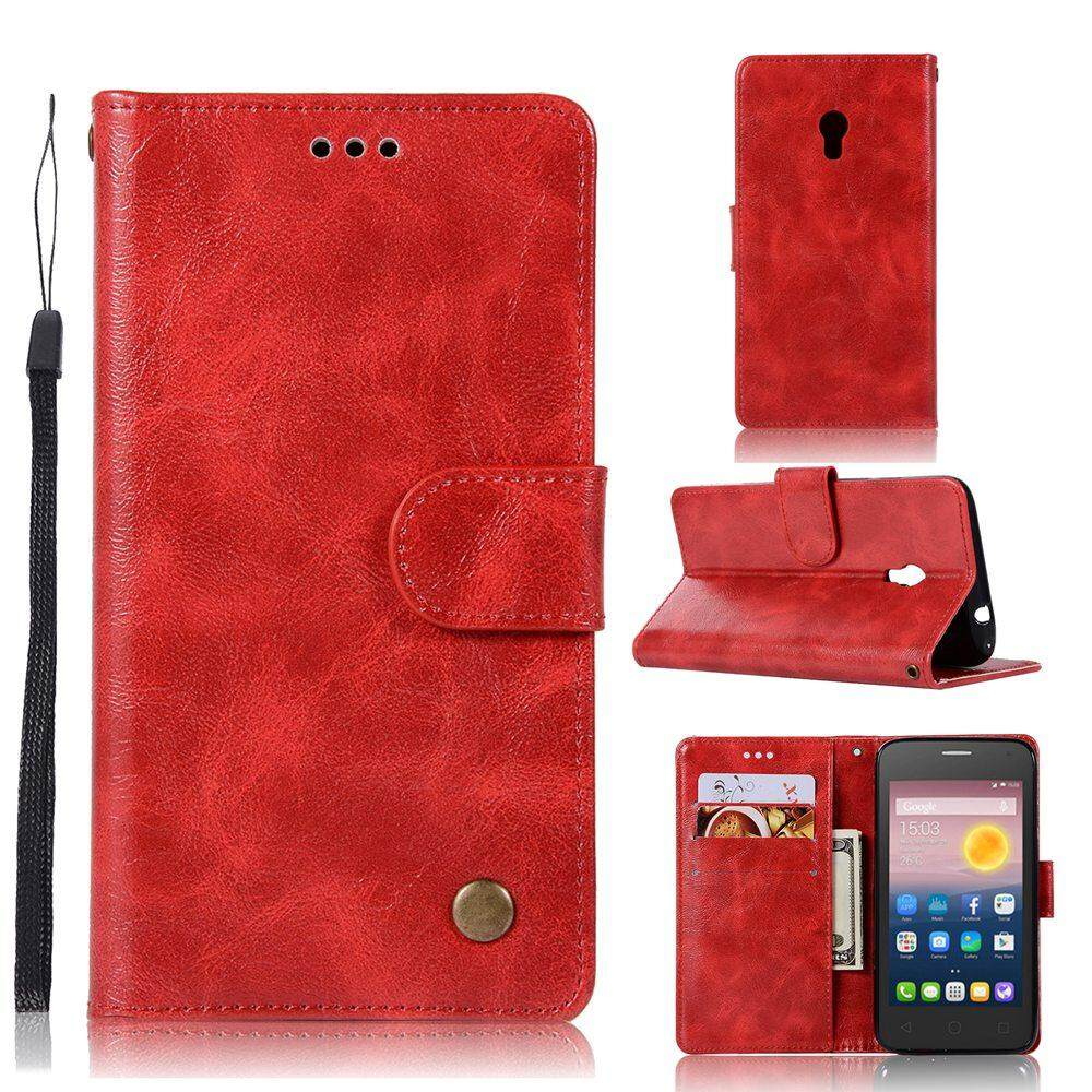 Premium Oil Wax PU Leather Holster Magnetic Folio Flip Wallet Case Slim Stand Cover & Wrist Strap for Alcatel One Touch Pixi 4 (5.0 inch) 4G Version - intl