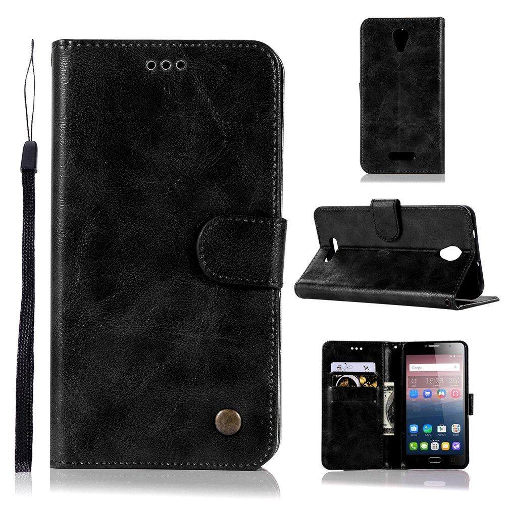Premium Oil Wax PU Leather Holster Magnetic Folio Flip Wallet Case Slim Stand Cover & Wrist Strap for Alcatel One Touch Pop 4+ / Plus 5.5 inches Smartphone - intl