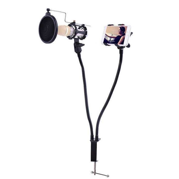Professional Phone Microphone Mount Stand Bracket Supporter Holder Kit 360 Degree Angle Adjustment for MV Studio Recording Singing Broadcasting Chatting Black