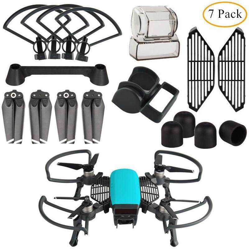 Propeller Guard with Foldable Landing Gear, Gimbal Camera Guard, Lens Hood, Finger Guard Board, 2 Pairs Quick Release 4730F Propellers, 4pcs/set Silicone ...