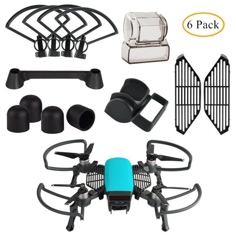 Propeller Guard with Foldable Landing Gear, Gimbal Camera Guard, Lens Hood, Finger Guard Board, 4pcs/set Silicone Motor Cover ...