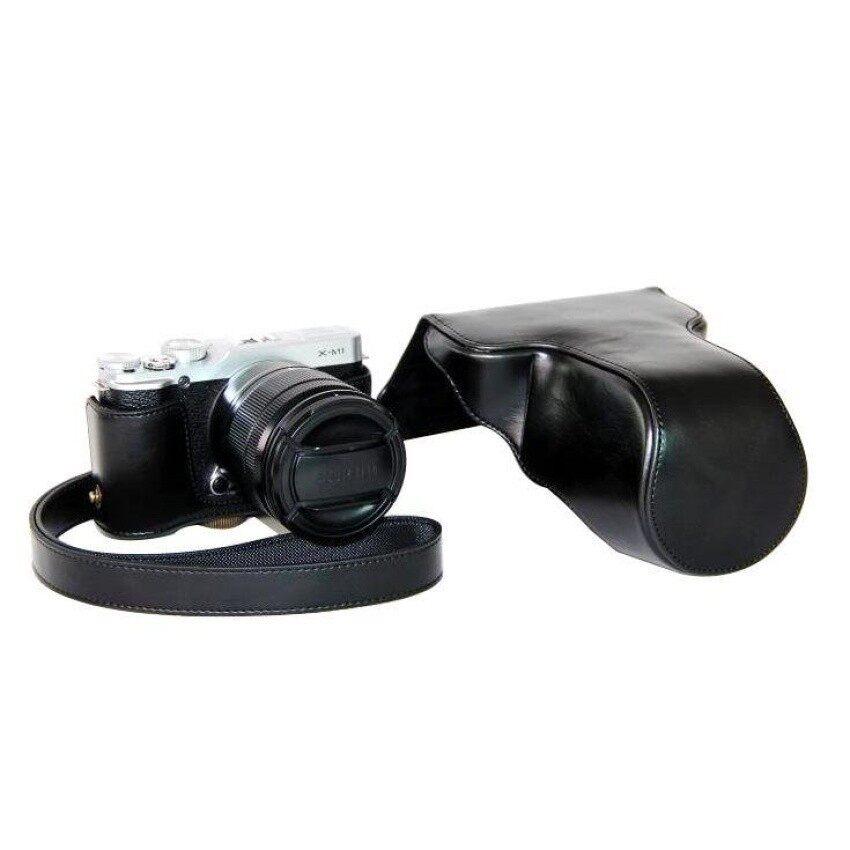 Pelindung Kulit PU Berkualitas Tinggi Tas Kamera Coverforfujifilm XM1 XA1 XA2 (Kamera Tidak Included) hitam Sheng HOTT 273-Internasional