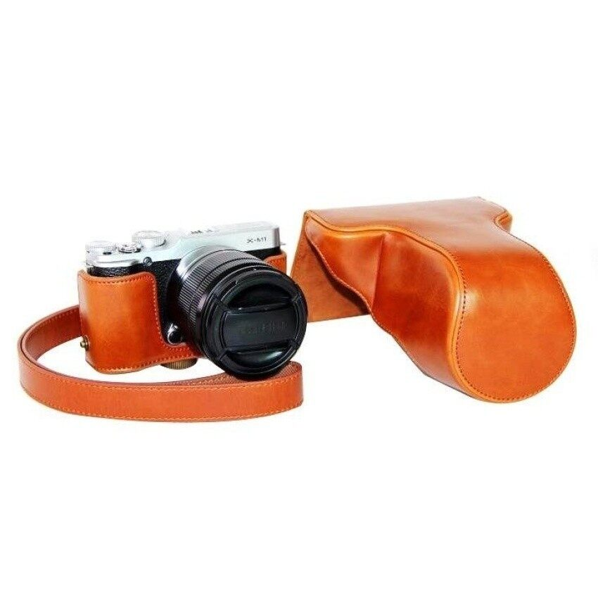 Pelindung Kulit PU Berkualitas Tinggi Tas Kamera Coverforfujifilm XM1 XA1 XA2 (Kamera Tidak Included) cokelat Sheng HOTT 282-Internasional