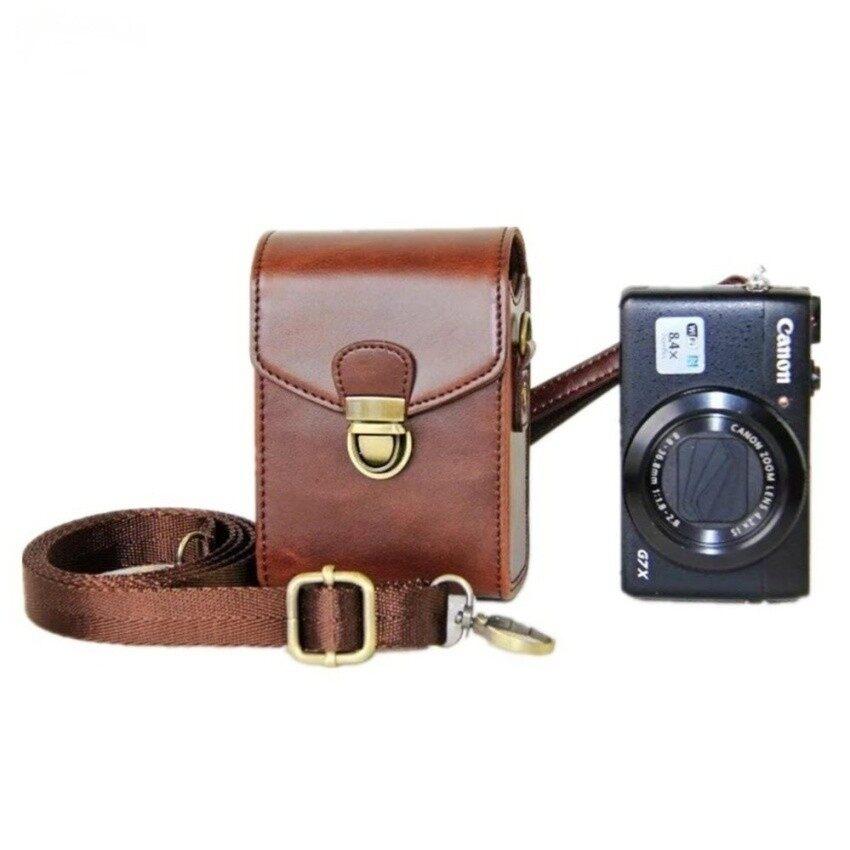 Pelindung PU Kulit Kamera Sabuk Putaran Casing Tas Withcrossbodyadjustable Bahu Tali Kompatibel untuk Canon N N2