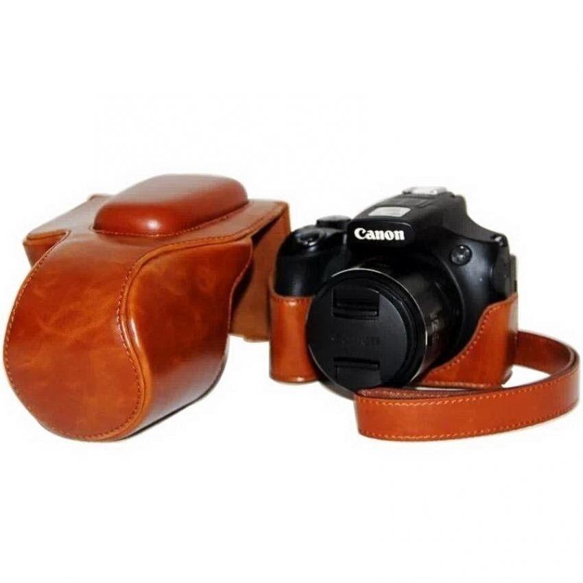 Kulit PU Tas Sarung Cocok untuk Canon PowerShotSX60Camera dengan Bahu Tali (Coklat) sheng HOTT 373-Internasional