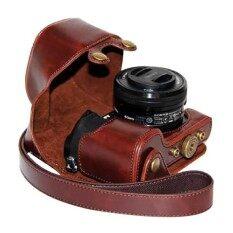 PU Kulit Camera Case Bag Tutup dengan Strap untuk Sony A6000 / NEX 6 (dengan lensa 16-50mm) / ILCE-6000L (Kopi)