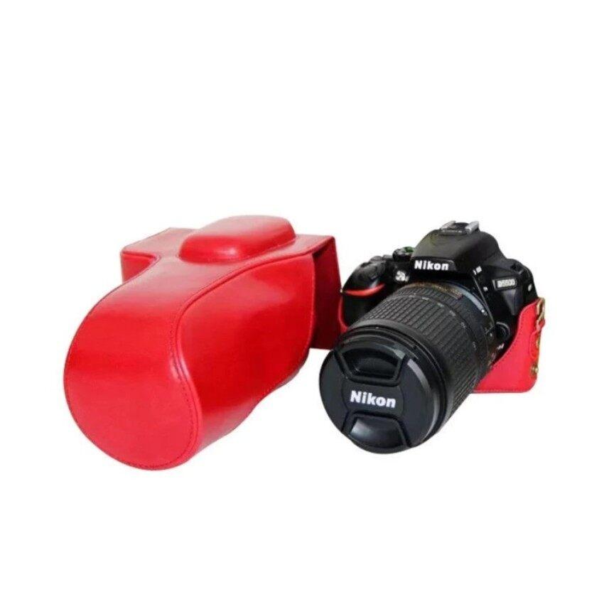 Kamera Kasus Penutup Pu Kulit Tas + Tripod Desain untuk Nikon D5500-Internasional