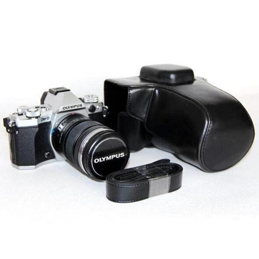 Kamera Kasus Penutup Pu Kulit Tas + Tripod Desain Freeshoulderstrap UNTUK Olympus EM5 (Hitam) sheng HOTT 651-Internasional