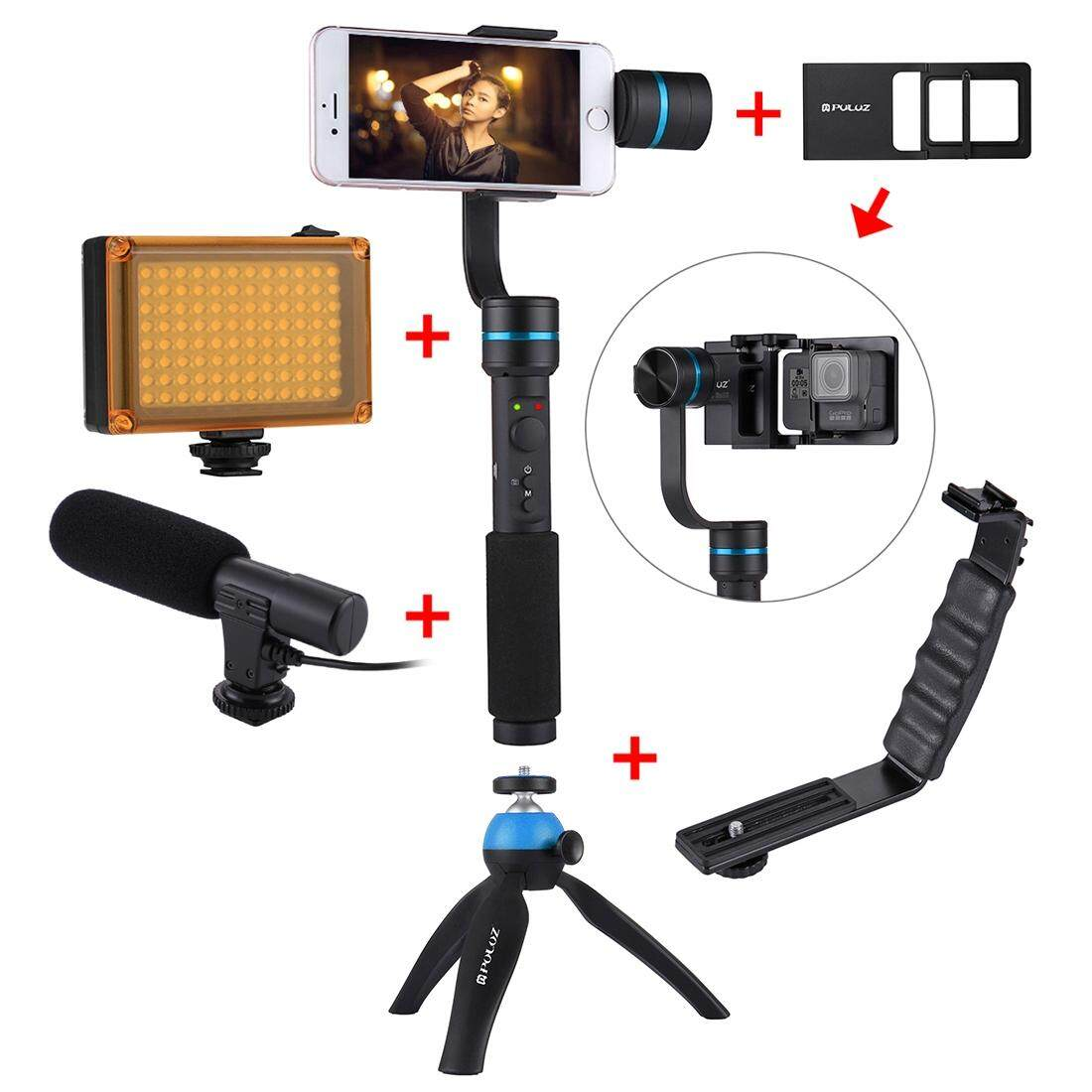 Where To Buy Puluz G1 3 Axis Stabilizer Handheld Gimbal With Clamp Mount And Tripod Holder L Shape Bracket Led Studio Light Video Shotgun Microphone Switch Mount Plate With Tripod Holder Blue Intl