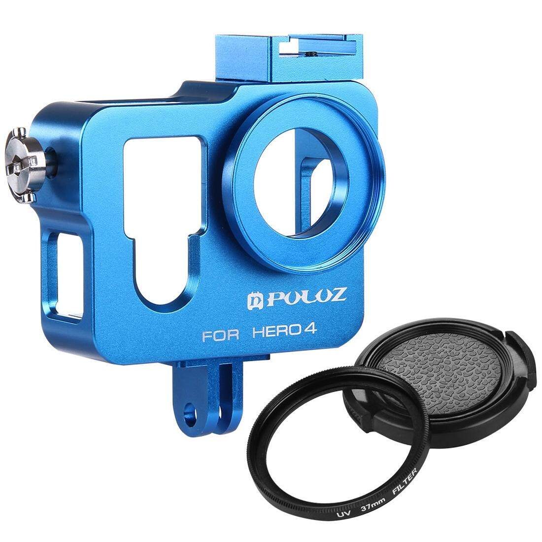 Discount Puluz Housing Shell Cnc Aluminum Alloy Protective Cage With 37Mm Uv Lens Filter And Lens Cap For Gopro Hero4 Blue Intl Oem China