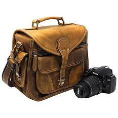Purple Relic: Vintage Leather Camera Bag; Crossbody; Fits Compact DSLR with Lens for Nikon D3200, Canon 1200D, Sony A7; (Tan)