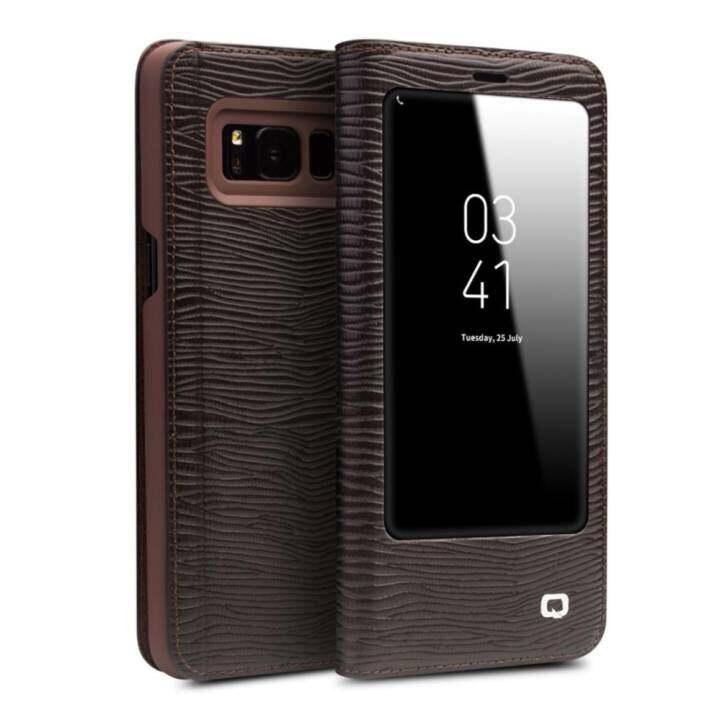 Uptop Qialino II Tank Case Cover Ultrathin Tas Lipat Tidur Bangun untuk Samsung Galaxy S8, Lizard Stripe Pola