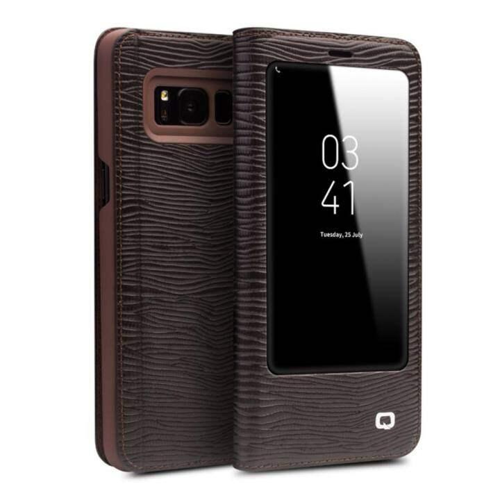Nicetop Qialino Kulit Asli Fesyen Case Cover Ultrathin Tas Lipat Tidur Bangun untuk Samsung Galaxy S8, Lizard Stripe Pola