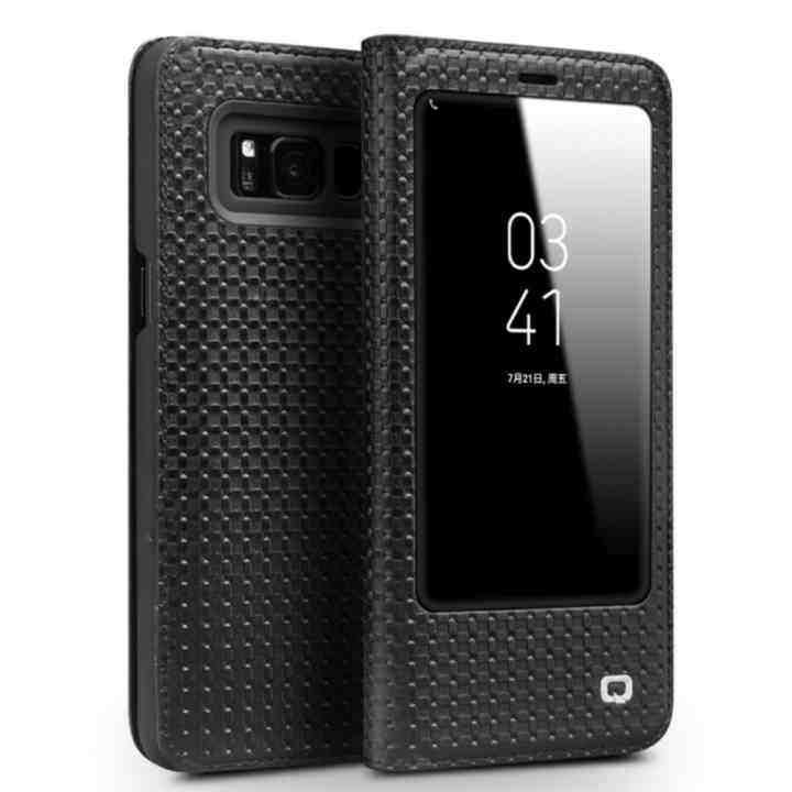 Grandshop Qialino II Tank Case Cover Ultrathin Tas Lipat Tidur Bangun untuk Samsung Galaxy S8 Plus Grid Pola
