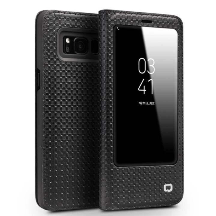 Nicetop Qialino Kulit Asli Fesyen Case Cover Ultrathin Tas Lipat Tidur Bangun untuk Samsung Galaxy S8 Plus Grid Pola