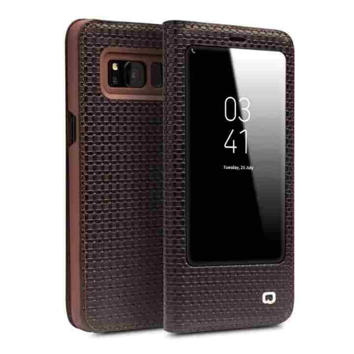 Niceele Qialino Kulit Asli Fesyen Case Cover Ultrathin Tas Lipat Tidur Bangun untuk Samsung Galaxy S8 Plus Grid Pola