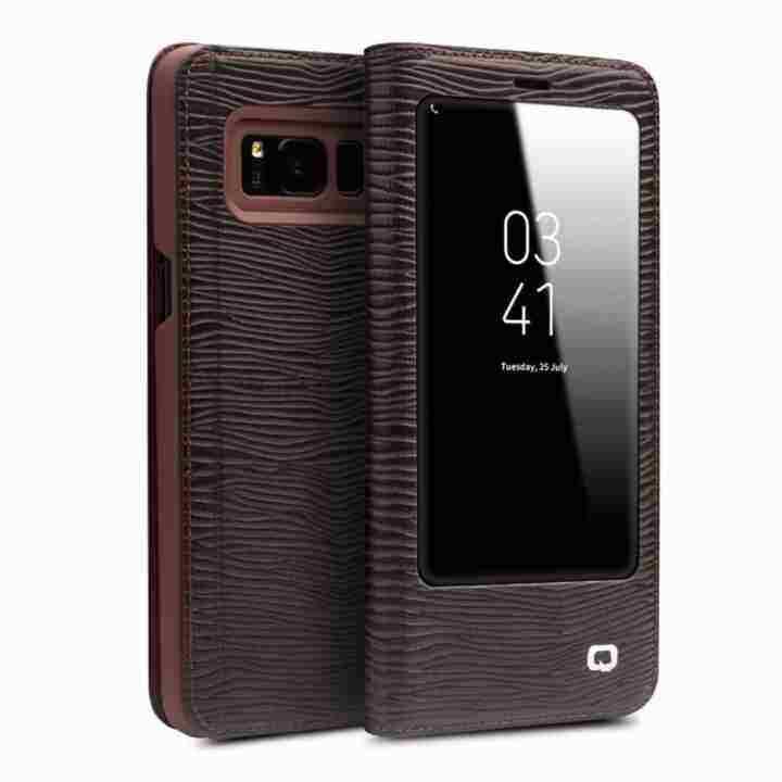 Allrise Qialino II Tank Case Cover Ultrathin Tas Lipat Tidur Bangun untuk Samsung Galaxy S8 Plus Lizard Stripe Pola