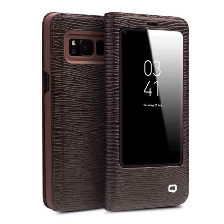 Legoal Qialino II Tank Case Cover Ultrathin Tas Lipat Tidur Bangun untuk Samsung Galaxy S8 Plus Lizard Stripe Pola
