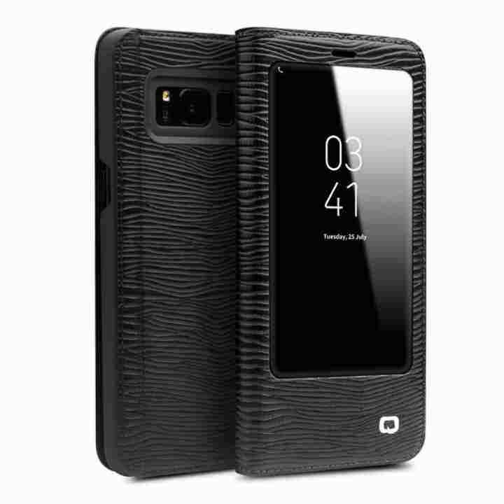 Evergreen Qialino Kulit Asli Fesyen Case Cover Ultrathin Tas Lipat Tidur Bangun untuk Samsung Galaxy S8 Plus Lizard Stripe Pola