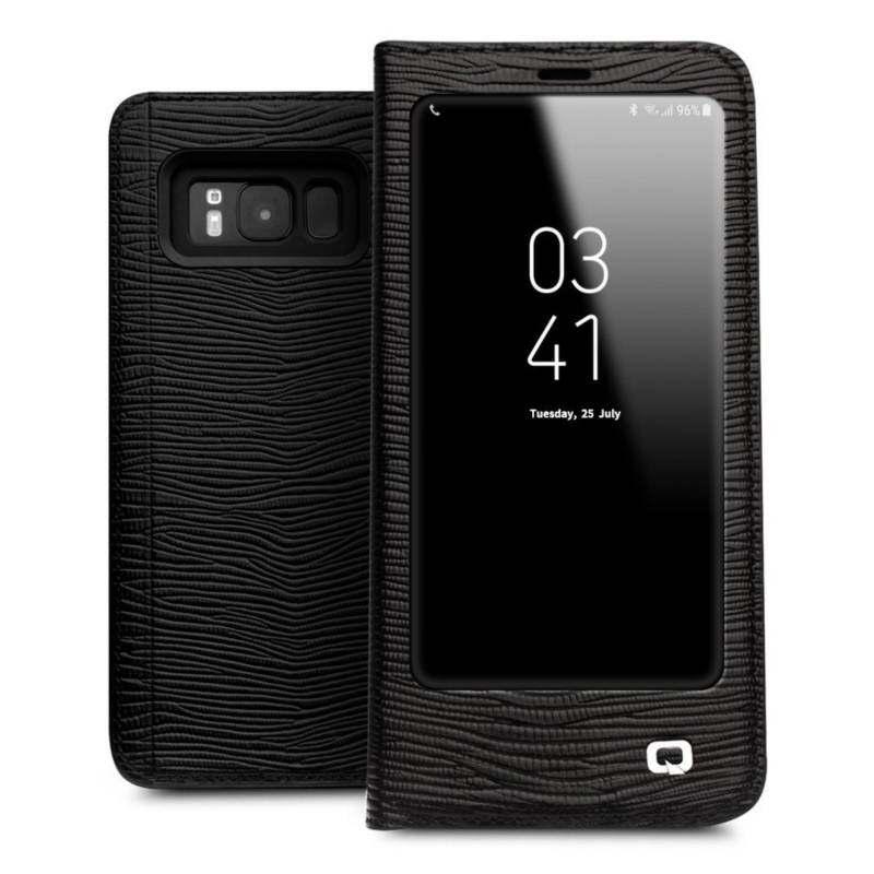 Allbest Qialino Fashion Casing Kulit Cover Ultra-Tipis Tas Lipat Tidur Bangun untuk Samsung Galaxy S8Plus Lizard Stripe Pola