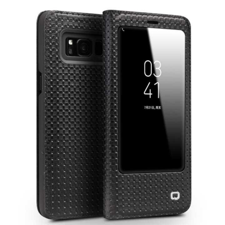 Eversky Qialino Kulit Asli Fesyen Case Cover Ultrathin Tas Lipat Tidur Bangun untuk Samsung Galaxy S8 Grid Pola