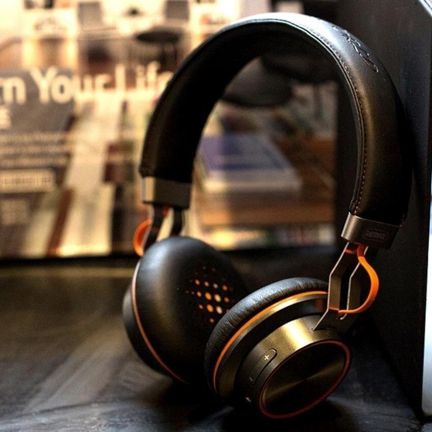 Remax RB-195HB Stereo Multi Poin Nirkabel Bluetooth 4.1 Headset Headphone Bluetooth Asli (Hitam