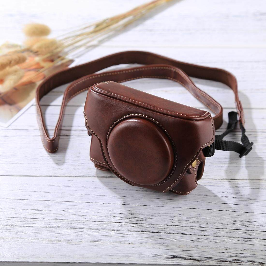 Get The Best Price For Retro Style Leather Camera Case Bag With Strap For Sony Rx100 M3 M4 M5 Coffee Intl