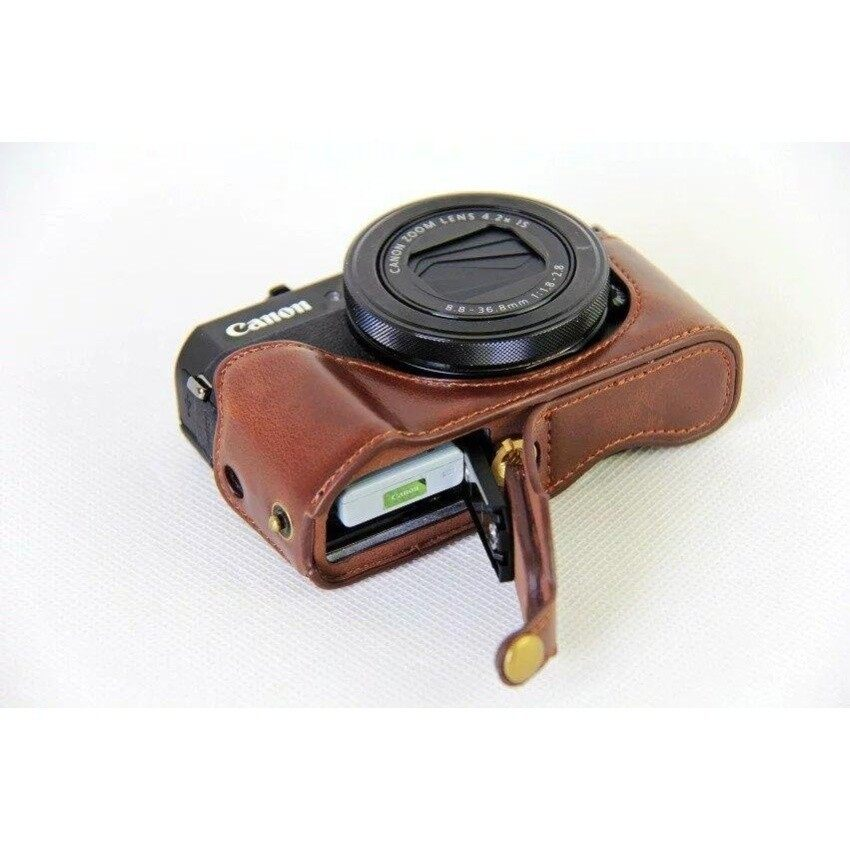 Retro Vintage PU Leather Half Body Set Cover Camera Bag BottomCaseFits For Canon powershot G7XII G7X II G7X Mark2 Camera SHENG HOTT 098 - intl
