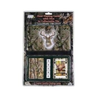 Rivers Edge Products 2-Pack Playing Cards and Dice Gift Tin. MossyOak Deer - intl