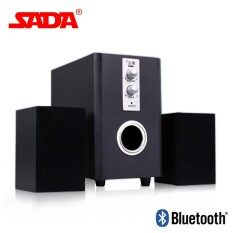 SADA Q1 Multi Function Wooden Subwoofer Stereo Bass PC USB Bluetooth Wireless Speaker Computer Speakers Support TF Card U Disk Malaysia