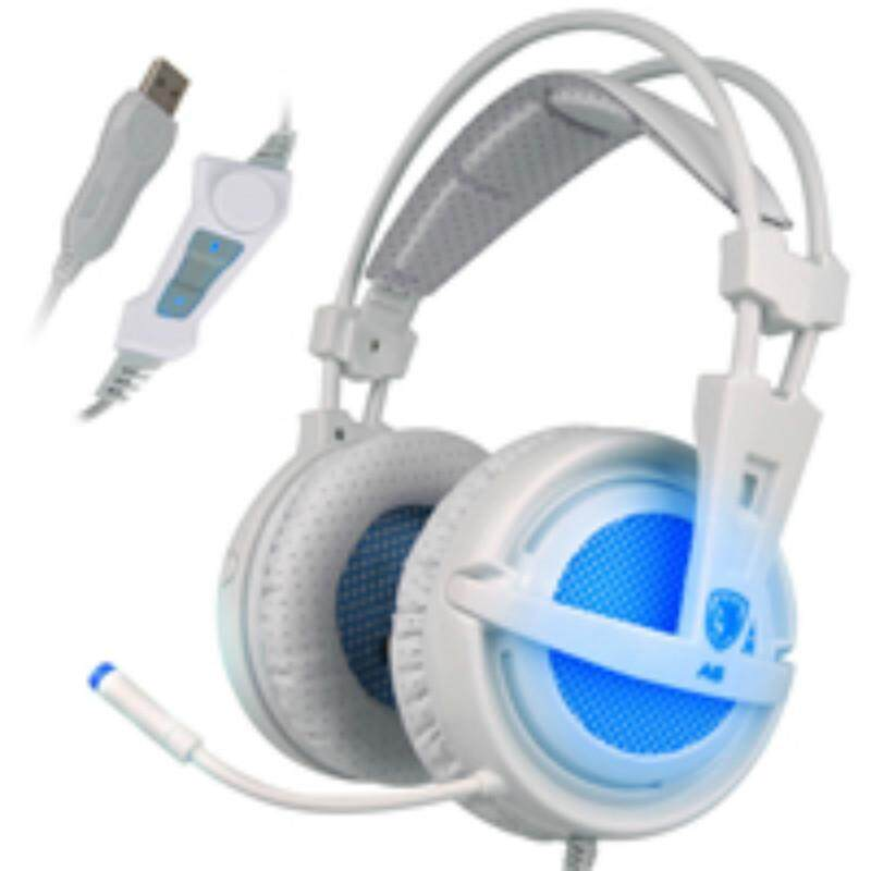 SADES A6 USB 7.1 Mengelilingi Suara Stereo USB Headphone Lebih Telinga Kebisingan Mengisolasi Lampu LED Bernapas