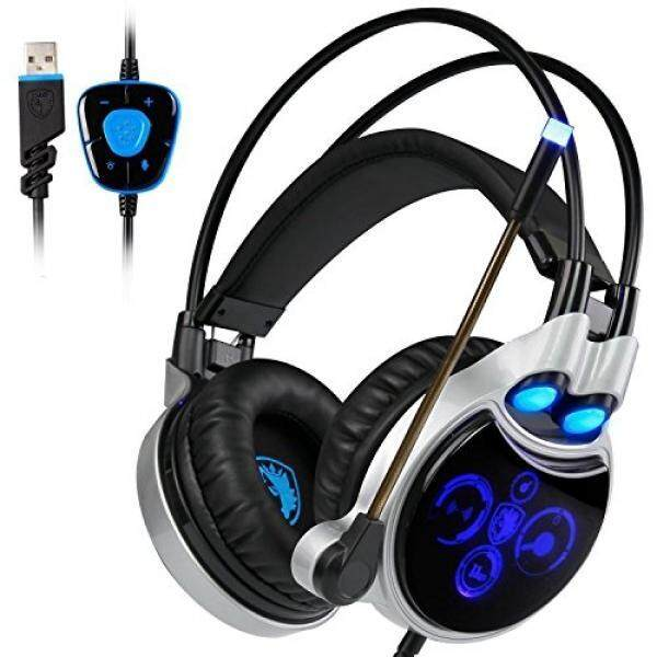 Sades R8 Gaming Headphones Virtual 7.1 Channel Surround Sound USB Wired Headset LED lights With Mic
