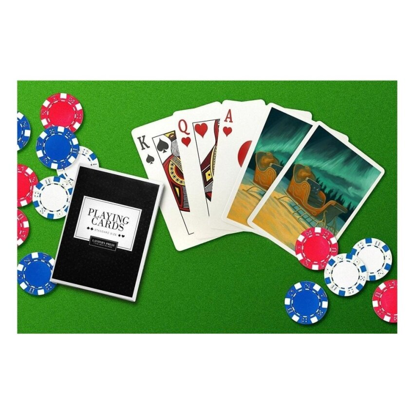 Santas Sleigh - Christmas Oil Painting (Playing Card Deck - 52Card Poker Size with Jokers) - intl