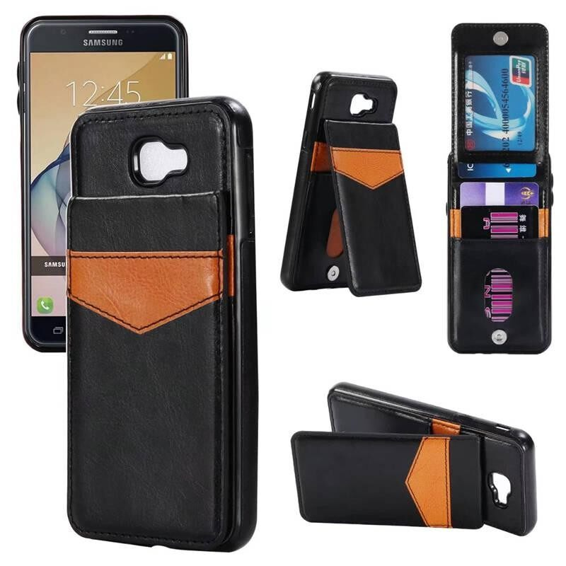 Sevenplus Premium PU Kulit Stand Penyangga Kartu Slot Case Dompet Case dengan Pemegang Kartu Ganda Gesper Magnetik dan Penutup Tahan Lama Yang Tahan Lama untuk Samsung Galaksi J5 Prime-Internasional