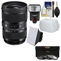 Sigma 24-35mm f/2 ART DG HSM Zoom Lens with Flash + Soft Box + Diffuser + 3 Filters Kit for Canon EOS Digital SLR Cameras