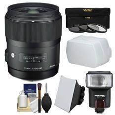 Sigma 35mm f/1.4 Art DG HSM Lens for Nikon DSLR Cameras with Flash + Soft Box & Diffuser + 3 UV/CPL/ND8 Filters + Kit