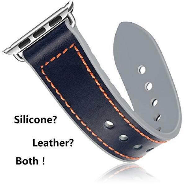 Silikon & Asli Kulit Jam Tangan Tali untuk Apple untuk IWatch/Apple Jam Tangan Tali 38 & 42 Mm Olahraga wristbands dengan Logam Gesper untuk Apple Jam Tangan Seri 1/Seri 2/Seri 3/Nike +/Edition /Hermes-Internasional
