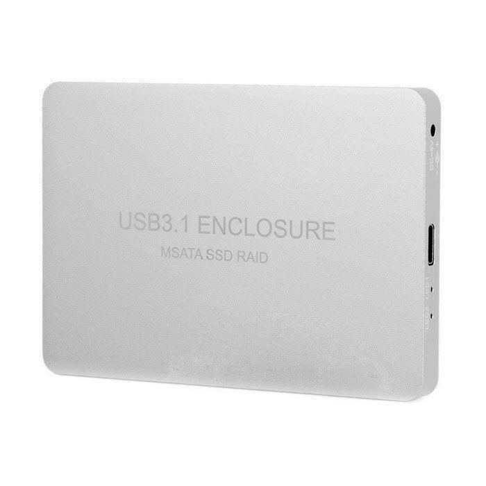 Perak USB-C USB 3.1 Tipe C untuk Dual 50 Mm M SATA PCI-E SSD Kandang dengan Serangan-Intl