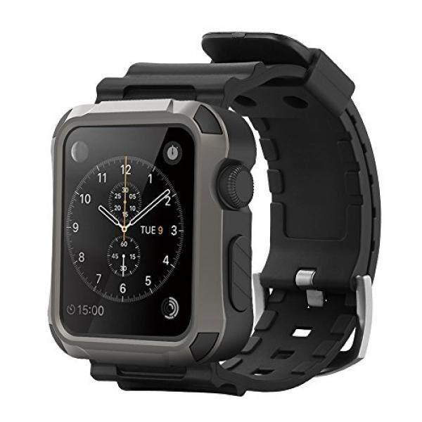 Simpeak Grey Kasar Pelindung Kasus dengan Hitam Tali Bands untuk Apple Jam Tangan 38 Mm Seri