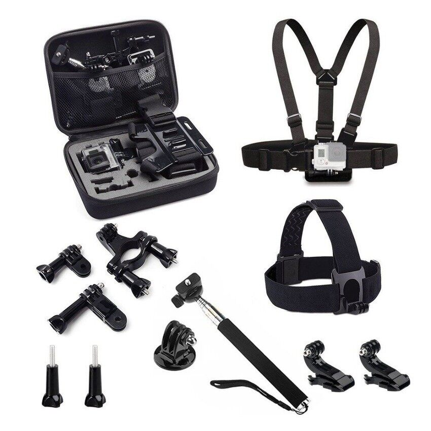 Sj4000 Aksesoris Set EVA Collectingbox + Monopod + Tripod + Ikat Kepala Tali Dada untuk GoproHero4/3 +/3 /2/1 SJCAM SJ5000Camera Xin CX 2150-Internasional