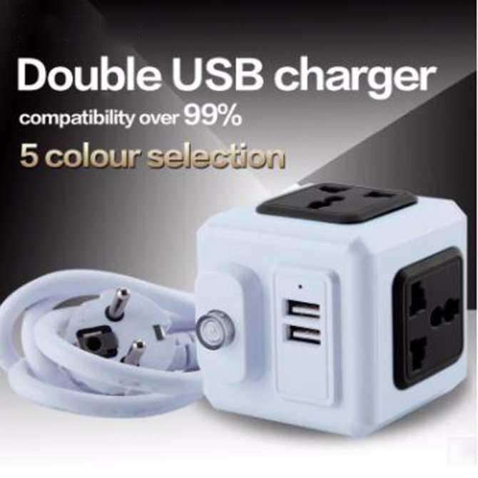 Shanzaidasheng  Smart Home Power Cube Socket US Plug 4 Socket 2 USB Port Adapter Power Outer Extension Adapter Universal Jack Socket