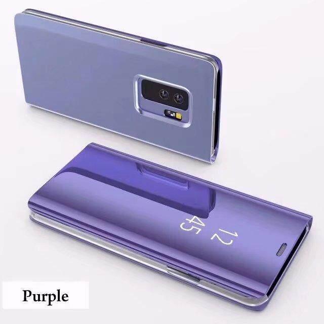 Pintar Tidur Vertical Penyangga Cermin Kulit Lipat Case Sarung untuk Samsung Galaksi S9 Plussmart Pelapisan Tampilan