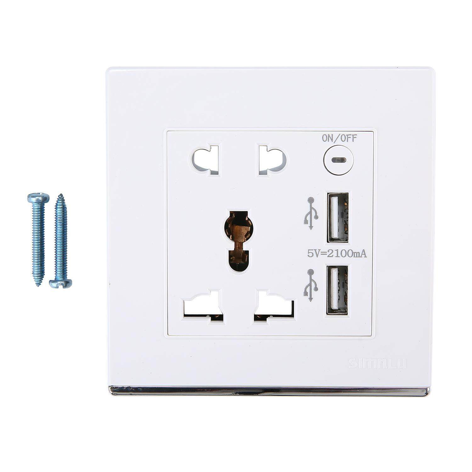 SOBUY Dual USB Port Wall Socket Charging Socket Adapter Power Outlet Multifunction Panel For IPhone 7 IPhone 6S Plus Samsung Galaxy All Smartphones And Device White
