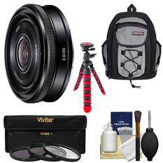 Sony Alpha E-Mount 20mm f/2.8 Wide-Angle Pancake Lens with Backpack + 3 Filters + Tripod + Kit for A7, A7R, A7S Mark II, A5100, A6000, A6300 Cameras